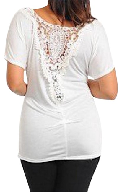 Preload https://img-static.tradesy.com/item/18913375/white-lace-back-ruched-blouse-size-16-xl-plus-0x-0-1-650-650.jpg