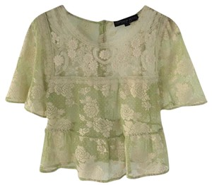 Topshop Lace Peplum Date Night Summer Top IVORY/ LIME GREEN