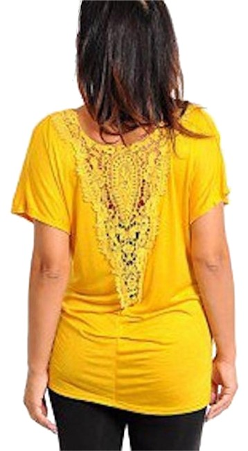 Preload https://img-static.tradesy.com/item/18913405/yellow-lace-back-ruched-blouse-size-16-xl-plus-0x-0-1-650-650.jpg