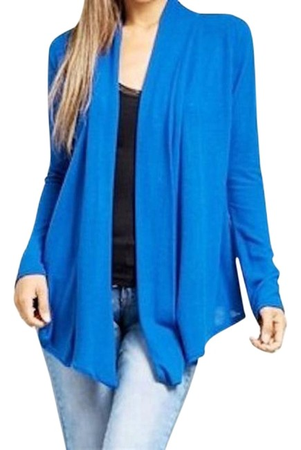 Preload https://img-static.tradesy.com/item/18913501/blue-open-front-ruched-sleeve-cardigan-size-16-xl-plus-0x-0-1-650-650.jpg