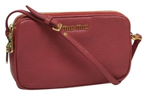 Miu Miu Designer Pink Leather Gold Hardware Wristlet in Rose Pink