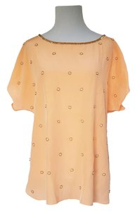 Lilly Pulitzer Silk Beaded Dolman Sleeves Rare Top Peach / Light Orange