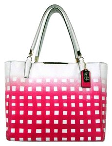 Coach Madison Gingham Saffiano Tote in White