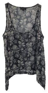 Topshop Floral Summer Spring Casual Top BLK/ GREY/ WHITE