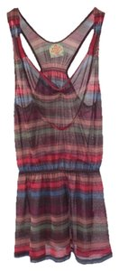 Free People V-neck Summer Sppring Casual Polyester Top RED/ MULTI