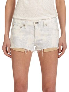 Rag & Bone Frayed Denim Mini/Short Shorts White/Blue Floral Kahuna Print