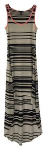 BLACK/ WHITE/ NEON PINK Maxi Dress by Aqua Maxi Summer Striped