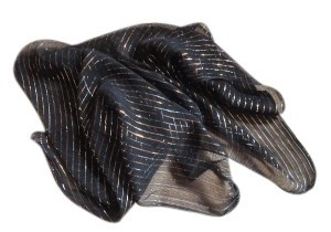 Other Sheer Black Scarf w/ GOld & Silver Thread