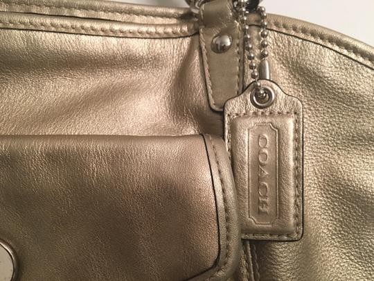 Coach Leather Tote in Gold metallic Image 7