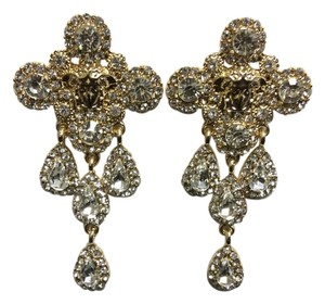 Other Gold Electro Plated Chandelier Post Earrings Cubic Zirconia Angel Face