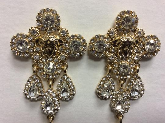 Other Gold Electro Plated Chandelier Post Earrings Cubic Zirconia Angel Face Image 5