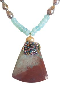 Other Turquoise Stone Necklace with Holographic Stone