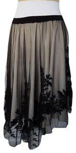 Zara Embroidered Sheer Mesh Tiered High-low Skirt Black & Tan