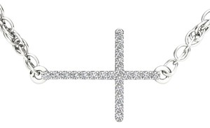 Elizabeth Jewelry 10Kt White Gold Diamond Cross Pendant