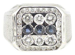 Other 14K White Gold 0.30Ct Sapphire 1.0Ct Diamond Ring 12.8 Gr Size 11