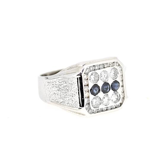 Other 14K White Gold 0.30Ct Sapphire 1.0Ct Diamond Ring 12.8 Gr Size 11 Image 1