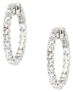 14K White Gold 2.98Ct Round Diamond Earrings 6.4 Grams