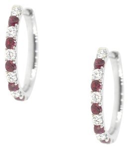 Other 18K White Gold 0.59Ct Ruby 0.59Ct Diamond Hoop Earring 4.8 Grams