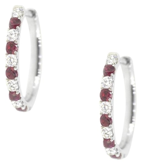 Preload https://img-static.tradesy.com/item/18915502/18k-white-gold-059ct-ruby-059ct-diamond-hoop-48-grams-earrings-0-1-540-540.jpg