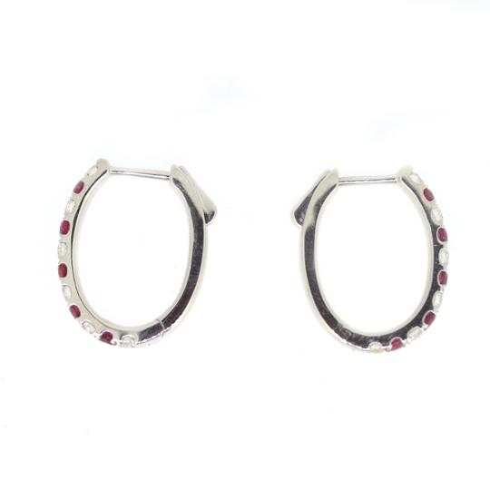 Other 18K White Gold 0.59Ct Ruby 0.59Ct Diamond Hoop Earring 4.8 Grams Image 1