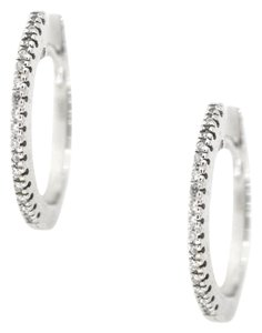 14K White Gold 0.14Ct Diamond Hoop Earrings 4.2 Grams