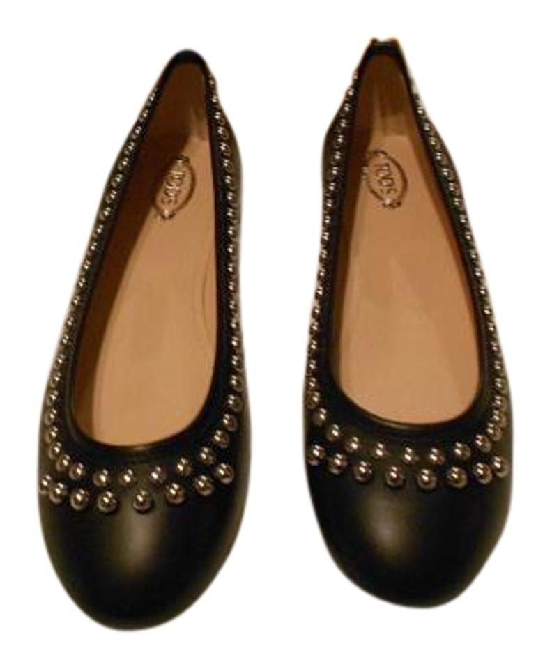 9fc88941 Tod's Black Studded Leather Ballerina Flats Size EU 39.5 (Approx. US 9.5)  Regular (M, B) 54% off retail
