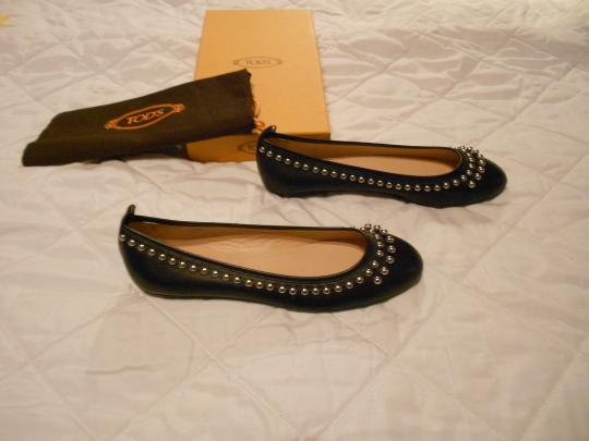 Tod's Stylish Lovely Color Comfortable Made In Italy Black Flats Image 1