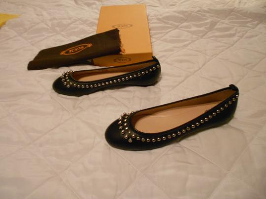 Tod's Stylish Lovely Color Comfortable Made In Italy Black Flats Image 2