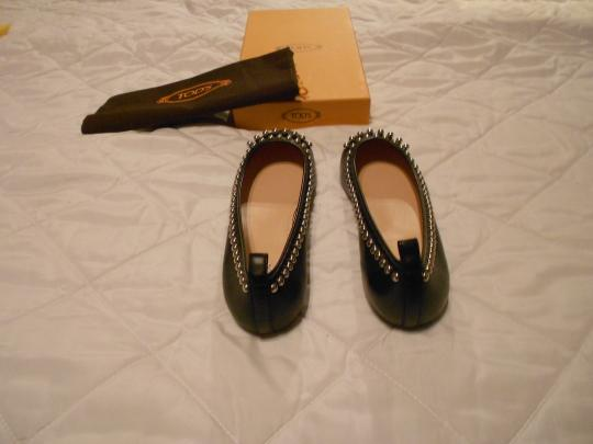 Tod's Stylish Lovely Color Comfortable Made In Italy Black Flats Image 3