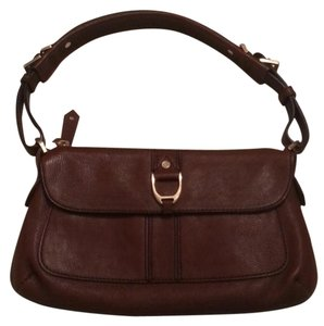 Cole Haan Dark British Tan Chocolate Leather Hobo Baguette