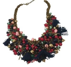 Anthropologie ANTHROPOLOGIE MULTI COLOR TASSELS NAVY REDS ...BEADS BIB NECKLACE NWT
