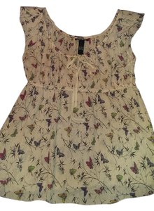Lucky Brand Top Multi butterfly with cream backgroynd
