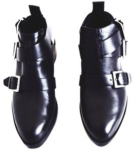 Zara #leather #buckles black Boots