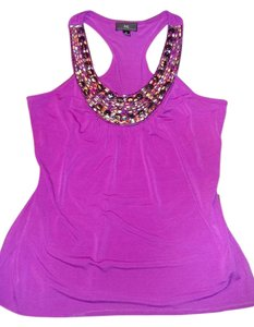 IZ Byer California Beaded Sleeveless Top Fuchia with multi colored stones