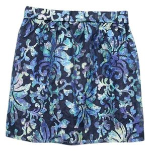 Velvet Mini Skirt Navy / Multi