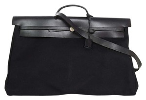 Hermès Canvas Leather Weekender Travel Bag