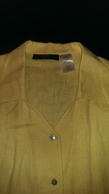 ORVIS Linen Button Down Shirt Buttercream yellow Image 1