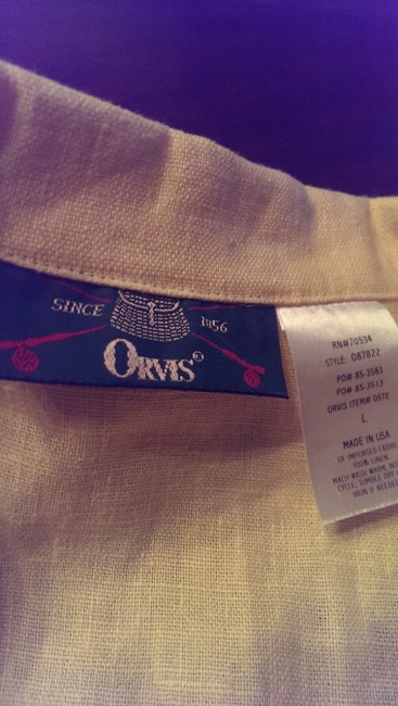 ORVIS Linen Button Down Shirt Buttercream yellow Image 3