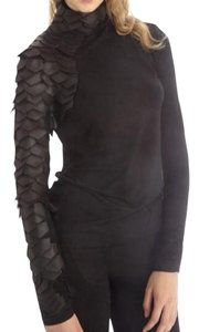 Scale Sleeve Statement Top Black
