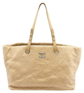 Chanel Quilted Patent Leather Tote in Beige