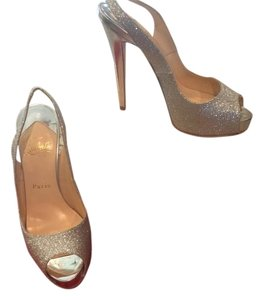 Christian Louboutin Silver Glittered Formal