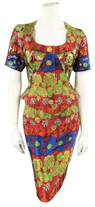 Christian Lacroix Vintage Red Gold Navy & Green Rose Floral Print Sequin Skirt Suit