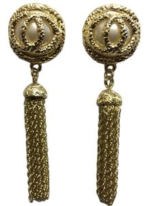 Gold Chain Tassle Dangle Women's Post Earrings Glass Pearl