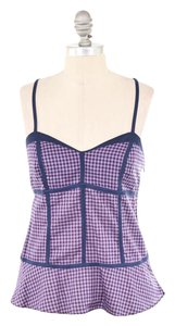 Marc Jacobs Sweetheart Flounced Hem Top Pink Gingham