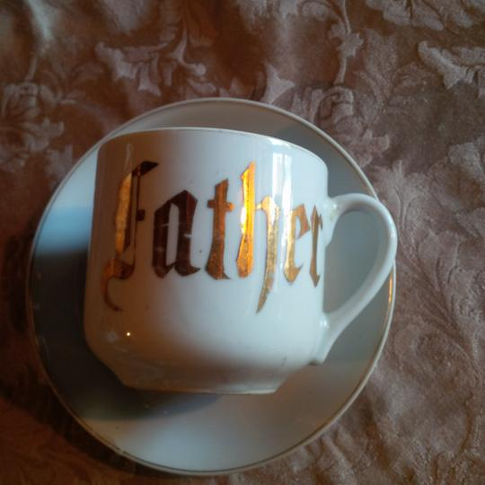 White & Gold Victorian Era ~ Father Cup Saucer Reception Decoration Image 1