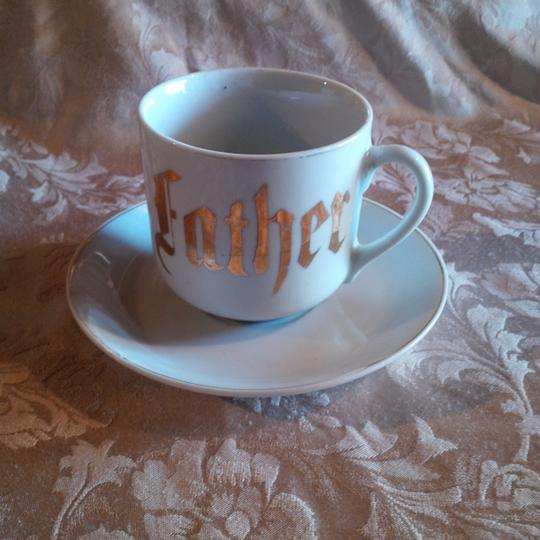 White & Gold Victorian Era ~ Father Cup Saucer Reception Decoration Image 3