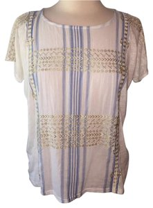 J.Crew Size Xs Brand Name Free Shipping Top White/Blue and gold