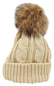 Other Beige Knit Beanie Winter Hat With Genuine Raccoon Fur Pom Pom