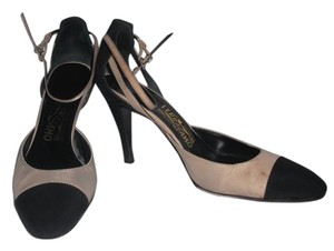 Salvatore Ferragamo Silk Ankle Stap Black & Cream Pumps