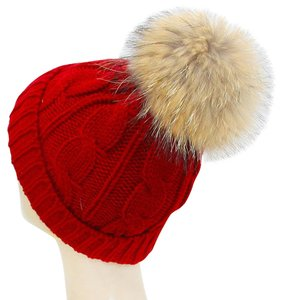 Warm Red Knit Beanie Winter Hat With Genuine Raccoon Fur Pom Pom